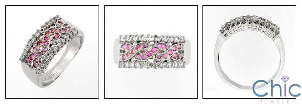 Anniversary Pink Ct Diaamond Pave Set Cubic Zirconia Cz Ring