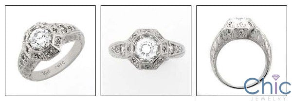 Estate 1 Ct Round Stone Cubic Zirconia Cz Ring