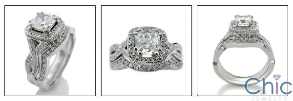 Matching Set 1.25 Cushion Halo Pave Curved Cubic Zirconia Cz Ring