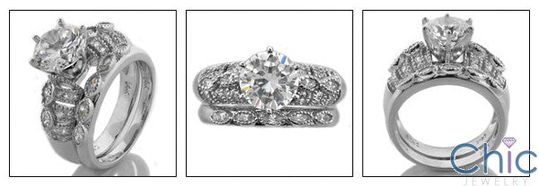 Matching Set 2 Ct Round Marquise anb Pave Set Cubic Zirconia Cz Ring