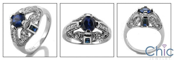 Estate Round Sapphire Pave Cubic Zirconia Cz Ring
