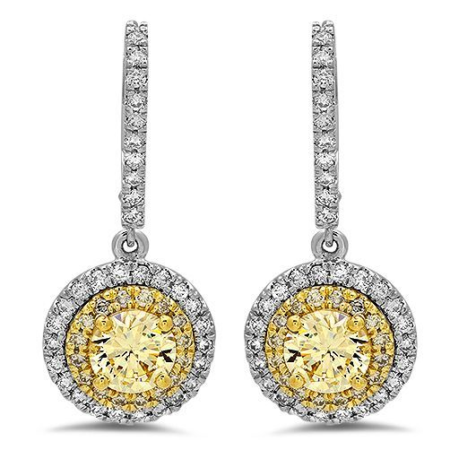 Vintage Two Tone Halo Canary Cubic Zirconia CZ Earrings