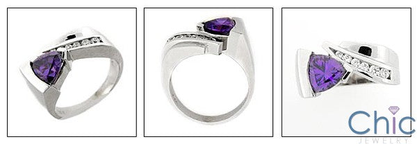 Fine Jewelry Amethyst Trillion Channel Cubic Zirconia Cz Ring