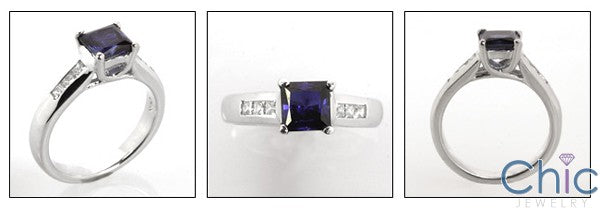 Anniversary 1 Ct Princess Center Channel Cubic Zirconia Cz Ring