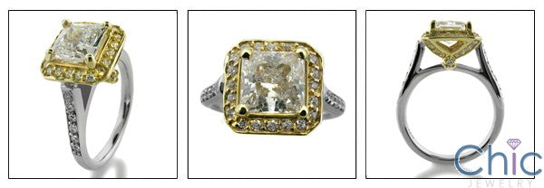 Estate 1.5 Princess in Two Tone Setting Cubic Zirconia Cz Ring