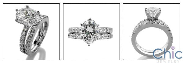Matching Set 2 Ct Oval Round Share Prong Cubic Zirconia Cz Ring