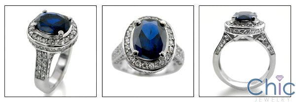 3 Carat Oval Blue Sapphire Cubic Zirconia Center Halo Pave 14K White Gold Cz Ring