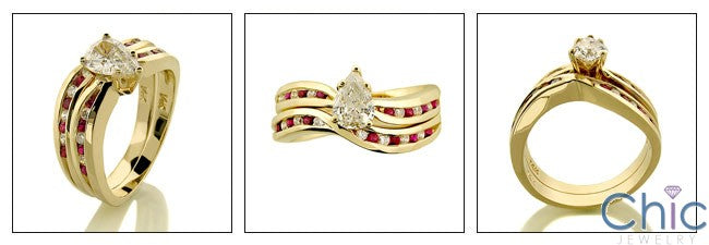 Matching Set 0.75 Pear Center Ruby Ct Diamond Channel Cubic Zirconia Cz Ring