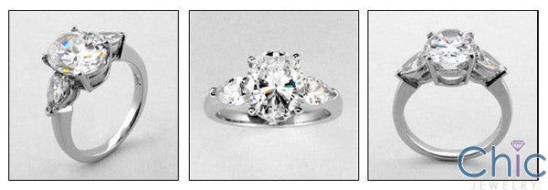 3 Stone 3 Ct . Oval .50 Pear Cubic Zirconia Cz Ring