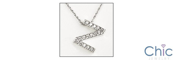 Letter Z Initial Pendant Cubic Zirconia Pave Stones 14K White Gold