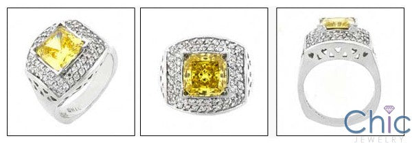 Estate 2.5 Princess Canary Double Pave Cubic Zirconia Cz Ring