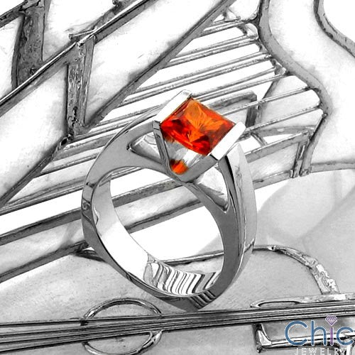 Anniversary Orange Princess Channel Cubic Zirconia Cz Ring