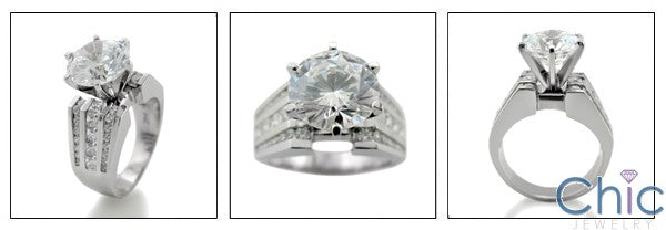 Engagement Round 3 Ct Center 2.25 TCW Channel Cubic Zirconia Cz Ring