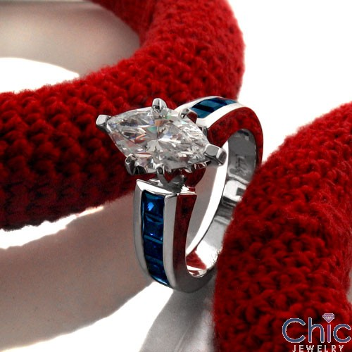 Engagement 1.5 Marquise Center Sapphire Princess Cubic Zirconia Cz Ring