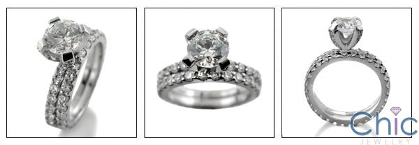 Matching Set 2.75 Ct Round 2mm Cubic Zirconia Cz Ring