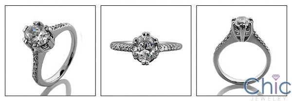 Engagement 1.5 Oval Center Pave set Shank Cubic Zirconia Cz Ring