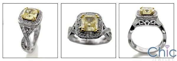 Estate 1.25 Light Canary Cushion Cubic Zirconia Cz Ring