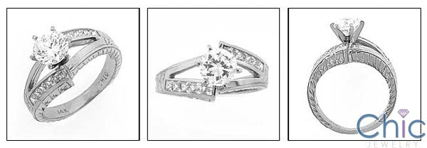 Estate Engraved Shank 1 Ct Round Center Cubic Zirconia Cz Ring