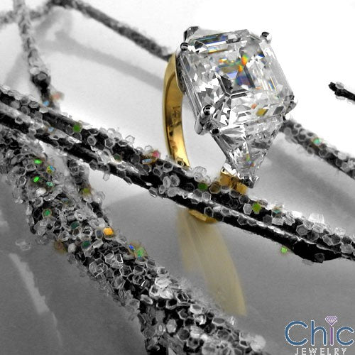 3 Stone 3.5 Asscher Ct Trillions Two Tone Cubic Zirconia Cz Ring