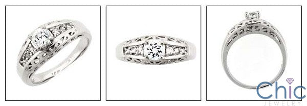 Fine Jewelry 0.40 Round Center Pave Cubic Zirconia Cz Ring