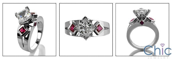 Anniversary 1.25 Diamond CZ Princess Ruby Bezel Cubic Zirconia Cz Ring