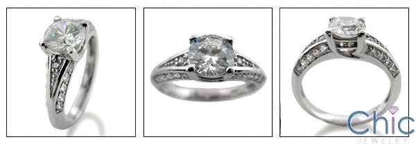 Round 1 Carat High Quality CZ Center Pave Sides Cubic Zirconia 14k White Gold Ring