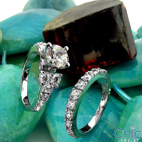 Matching Set 1 Ct Round Center in 4 Prongs Cubic Zirconia Cz Ring