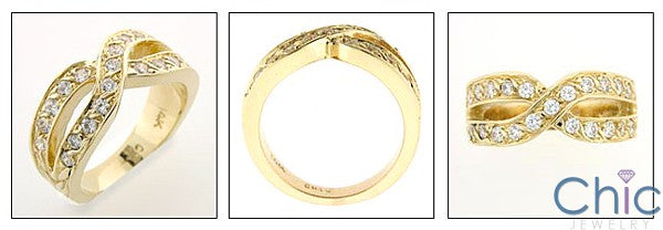 Criss Cross Anniversary Band 1.0 Total Carat Pave Cubic Zirconia Yellow Gold 14K Ring