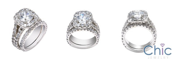 Matching Set 1.5 Round Center Halo Wedding Cubic Zirconia Cz Ring