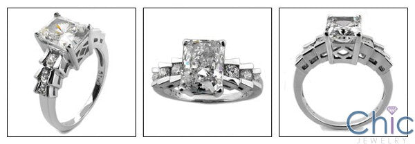 Engagement Radiant 2 Ct Step channel Cubic Zirconia Cz Ring