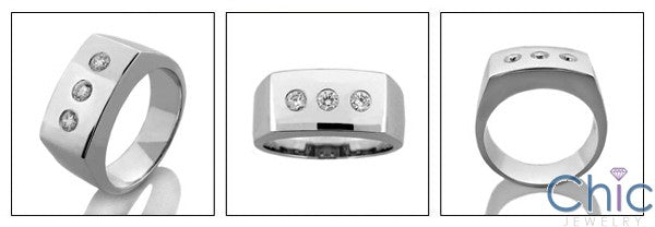 Mens 3 Round Bezel Set in 9.5 MM Cubic Zirconia CZ Wedding Band
