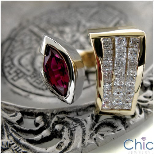 Anniversary Ruby Marquise Bezel Set Invisible Cubic Zirconia 14K Gold Ring