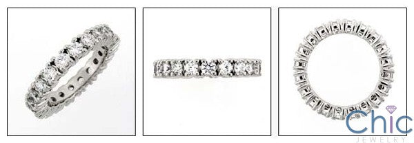 Eternity Cubic Zirconia Round Stone 2  Carat Total 14k White Gold Band