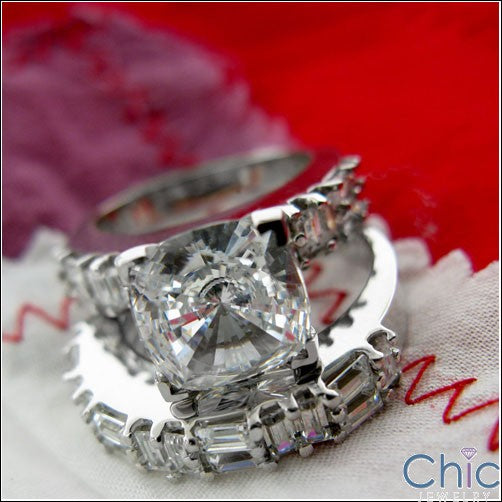 Matching Set 2.5 Cushion Center Flush Baguette Cubic Zirconia Cz Ring