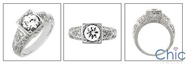 Engagement 1 Ct Round Center Engraved Antique Shank Cubic Zirconia Cz Ring