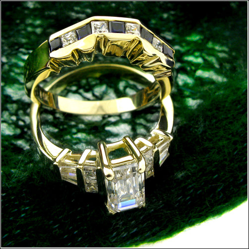 Matching Set 1 Ct Emerald Cut Cubic Zirconia Engagement Ring Curved Channel Set Band 14K Gold