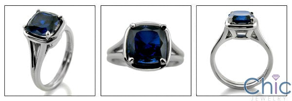 Solitaire 2 Ct Sapphire Cushion Cubic Zirconia Cz Ring