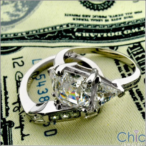 3.5 Asscher And Trillion Cubic Zirconia Ring Fitted Channel Matching Band 14K White Gold