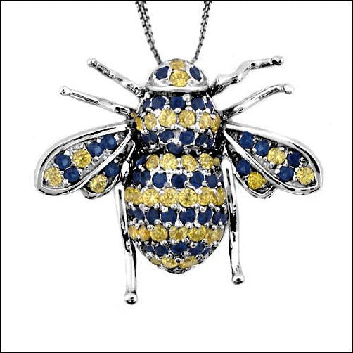 Cubic Zirconia CZ BandEE Charm Canary Ct Sapphire Pave Pendant