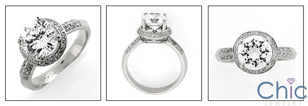 Estate 2 Ct Round Center Antique Style Pave Cubic Zirconia Cz Ring