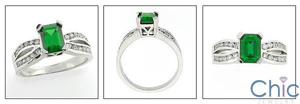 Anniversary 1 Carat Emerald Color Emerald Cut Channel Rounds14K White Gold Ring