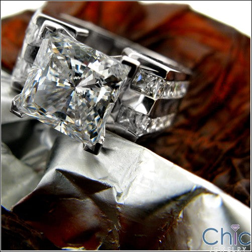 Engagement 3 Ct Princess 4 Prong Cubic Zirconia Cz Ring