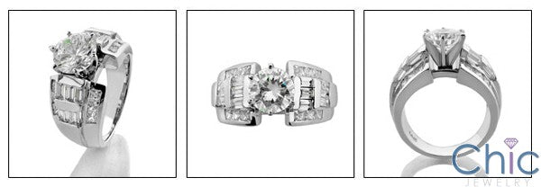 Engagement 1.5 Round Center 6 Prong Channel Cubic Zirconia Cz Ring