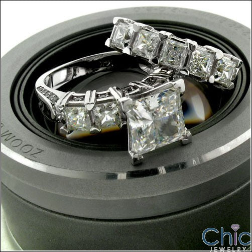 Matching Set 4.7 TCW Princess Ct Wedding Cubic Zirconia Cz Ring