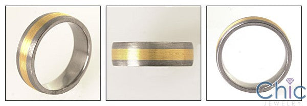 Mens Titanium Ct Yellow Gold Wedding Band