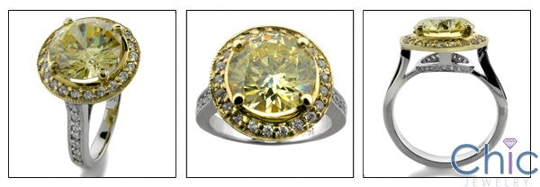 Anniversary 4 Ct Canary Round Yellow Gold Halo Cubic Zirconia Cz Ring