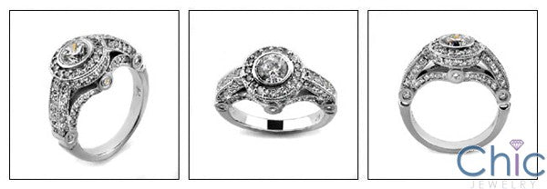 Engagement Round 1 Ct Center Bezel Pave Cubic Zirconia Cz Ring