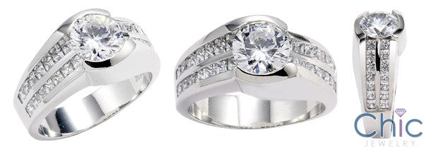 Engagement 1.25 Round Channel Set Cubic Zirconia 14K White Gold Ring
