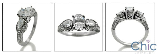 Estate 1 Ct Oval Pear Ct Pave Cubic Zirconia Cz Ring