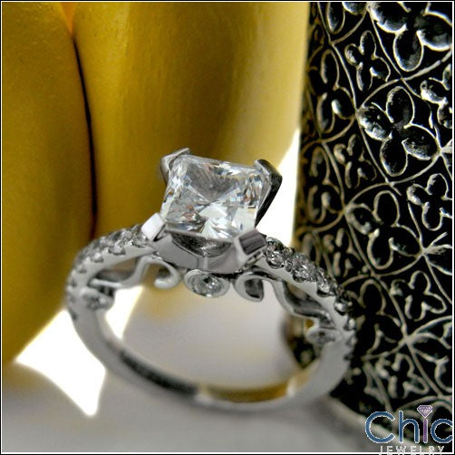 Engagement 1 Ct Princess Center Pave Scroll Cubic Zirconia Cz Ring